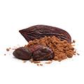 Drie bruine noten met daarnaast en tussen een hoopje bruine poeder