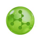 Een groen bolletje maar daarin een aantal moleculen die staat voor Hyaluronzuur