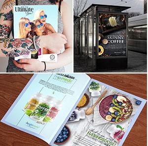 Ultimate tijdschrift in armen van vrouw, bushokje met skinny coffe reclame bord en pagina in tijdschrift met supplementen