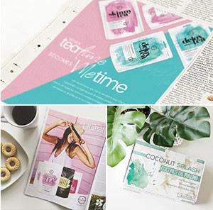 2 tijdschrift pagina's van detox tea en skinny tea en een verpakking van coconut splash tabletten