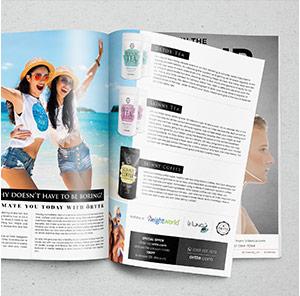 Pagina uit tijdschrift waar de skinny tea en detox tea van weightworld te zien zijn