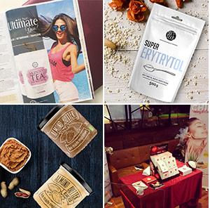 4 foto's - 1. pagina uit tijdschrift met vrouw 2. zak super Erythritol 3. 2 soorten pinda ijs 4. tafel sampaffiliates-branding-2les voor gezicht