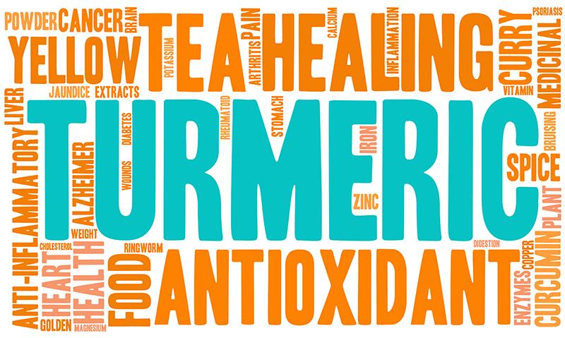 Vierkant met woorden over Turmeric/Kurkuma zoals ingredieten, textuur en kleuren