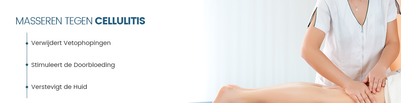 Banner voor celulite - Vrouw die iemand anders een massage geeft bij haar benen
