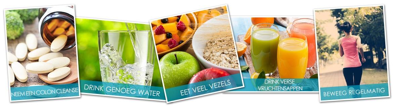 Banner colon cleanse - met tips voor een gezond lichaam zoals drink genoeg water, eet vezels en neem een colon cleanse