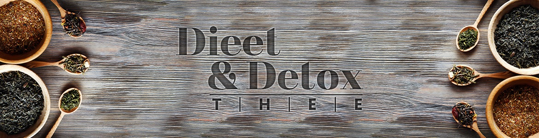Banner detox thee - Dieet en detox thee geschreven op een houte tafel