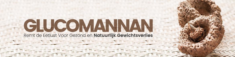 Banner glucomannan - Twee glucomannen vruchten te zien met als tekst remt de eetlust voor gezond en natuurlijk gewichtverlies