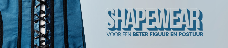 Banner shapewear - Een blauw korset met daarnaast als tekst shapewear voor een beter figuur en postuur