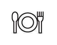 Een tekening van een bord met daarnaast een mes en vork