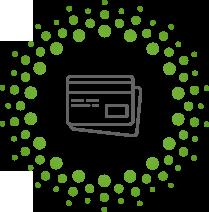 Cirkel van groene rondjes met daarin 2 getekende grijze betaalkaarten