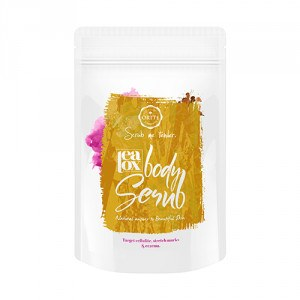 Witte verpakking met geel label met daarin 200 gram Ortte body scrub tegen celulite