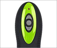 Bovenkant van de zwart met groene afstandsbediening van de heup trainer