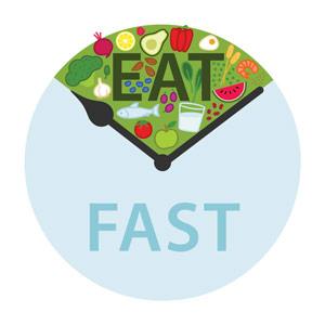 Vorm van een klok met het onderste gedeelte blauw en het bovenste gedeelte gevuld met etenswaren - eat fast