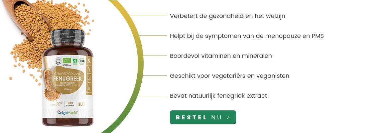 Potje fenegriek met lepel fenegriek zaadjes met rondom halve cirkel met voordelen en informatie