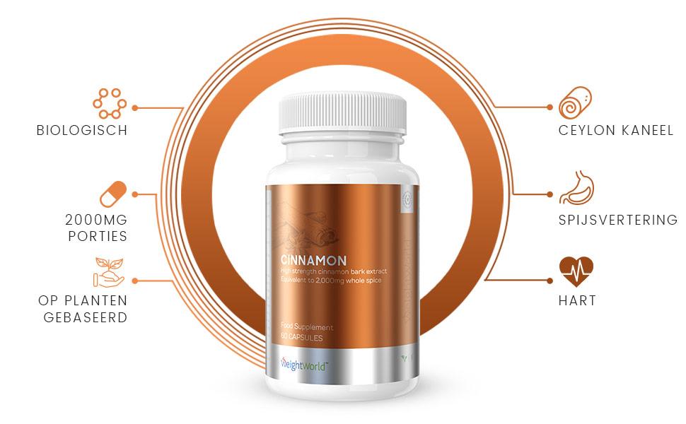 Potje kaneel capsules met rondom een cirkel met voordelen en eigenschappen van het supplement