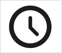 Een wit vierkant met daarin een getekende zwarte klok
