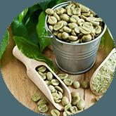 Tafel met daarop groene koffie bonen in een houte lepel, een kleine emmer en wat groene planten
