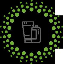 Cirkel van groene rondjes en met daarin een getekend beker en een getekend potje