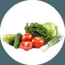 Groente bij elkaar: Sla, wortel, prei, tomaat, augurk en avocado