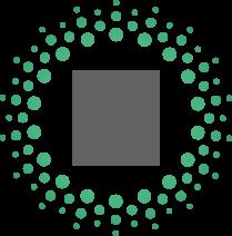 Een cirkel groene rondjes met in het midden een grijze getekende hand met daarin een getekend hartje met een percentage teken