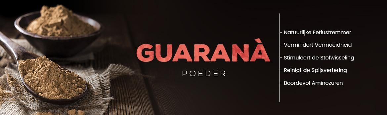 homepage guarana - schaaltje en lepel met guarana poeder met als tekst verschillende voordelen over het poeder