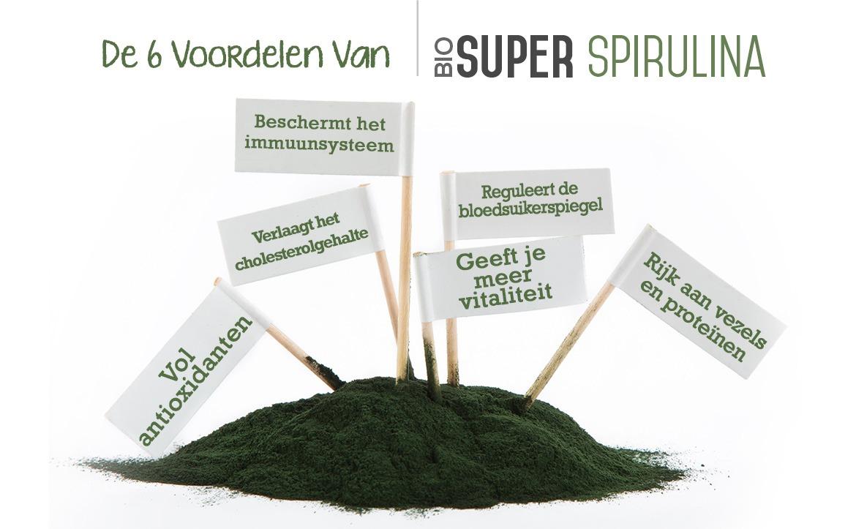 Infographic bio spirulina - De 6 voordelen van bio spirulina zoals meer vitaliteit en bescherming immuunsysteem