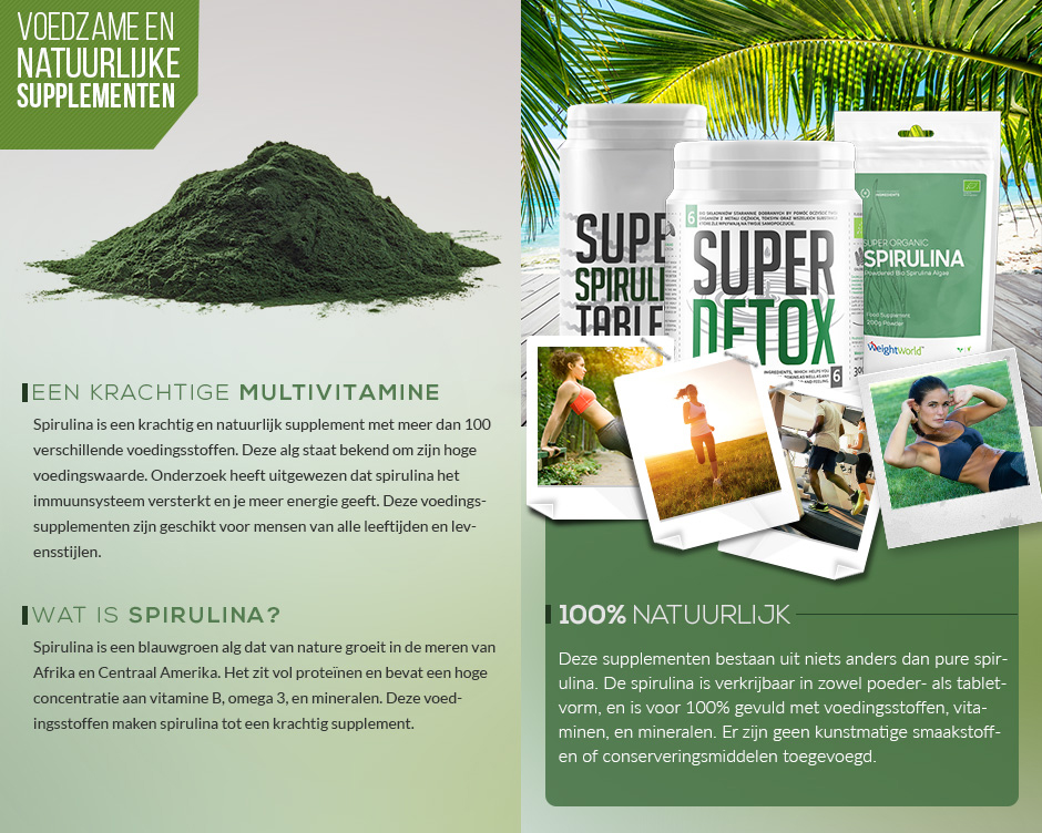 Infographic bio spirulina - informatie en uitleg over de voedzaamheid van natuurlijk spirulina