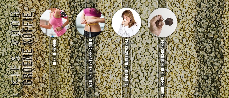 Infographic green coffee - Vier voordelen van groene koffie zoals acitveert immuunsysteem en geeft je energie