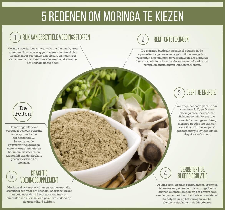 Infographic moringa - Vijf voordelen waarom je voor moringa moet kiezen