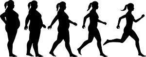Vrouw die van dik naar dun gaat en van stilstaand naar bewegend gaat