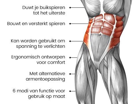 Een tekening van het mannelijke lichaam waarbij de buikspieren rood zijn gemaakt met wat tekst erbij over de ab stimulator