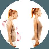 Postuur van een vrouw met en zonder haar shapewear