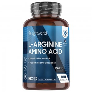 L-Arginine capsules - Fitness Supplement for Muscle Growth and Definition - WeightWorld - 180 capsules