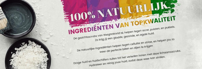 Rubriek voor face scrub - met informatie over de 100% natuurlijke producten van topkwaliteit
