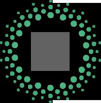 Cirkel van groene rondje met daarin 2 getekende tandwielen - icon technische instellingen