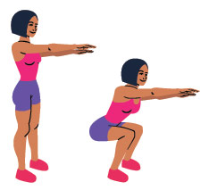 Getekende vrouw die rechtop staat met armen naar voor gestrekt en daarna is squat positie gaat