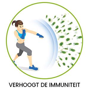 Tekening in cirkel van vrouw die aan het boxen is tegen bacteriën - verhoging immuniteit