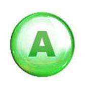 Groen rondje met daarin een hoofdletter A die staat voor vitamine A