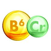 Geel bolletje waar B6 in staat geschreven en groen bolletje waar Cr in staat - Vitamine en mineralen